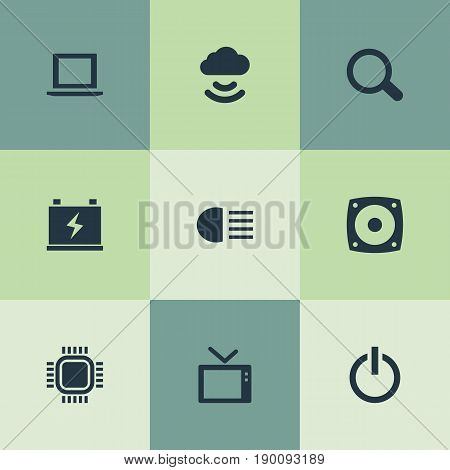 Vector Illustration Set Of Simple Gadget Icons. Elements Accumulator, Woofer, Processor And Other Synonyms Display, Search And Power.