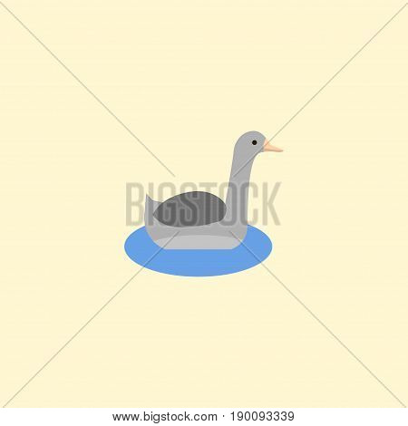 Flat Icon Goose Element. Vector Illustration Of Flat Icon Waterbird Isolated On Clean Background. Can Be Used As Waterbird, Goose And Neck Symbols.