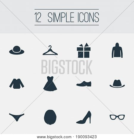 Vector Illustration Set Of Simple Garments Icons. Elements Lingerie, Elegant Headgear, Attire And Other Synonyms Hook, Apparel And Giftbox.