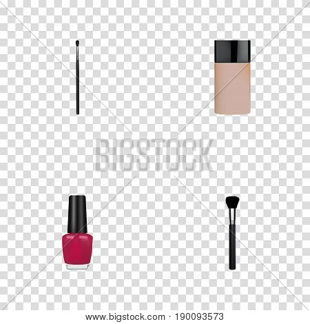 Realistic Fashion Equipment, Make-Up Product, Varnish And Other Vector Elements. Set Of Maquillage Realistic Symbols Also Includes Foundation, Skincare, Highlight Objects.