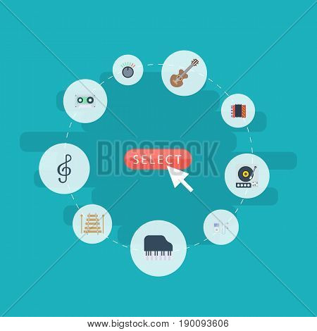 Flat Icons Quaver, Turntable, Musical Instrument And Other Vector Elements. Set Of Melody Flat Icons Symbols Also Includes Guitar, Turntable, Tape Objects.