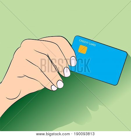 hand holding credit card. concept of e-commerce, earnings, atm,  identification, expend, shopper, in flat style design. vector illustration