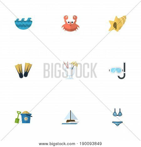 Flat Icons Shovel, Swimming, Sailboard And Other Vector Elements. Set Of Season Flat Icons Symbols Also Includes Drink, Aqualung, Water Objects.