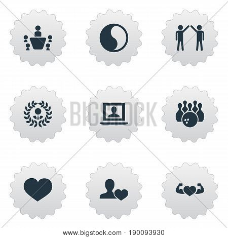 Vector Illustration Set Of Simple Friends Icons. Elements Bodybuilding, Love, Profile And Other Synonyms Game, Harmony And Care.