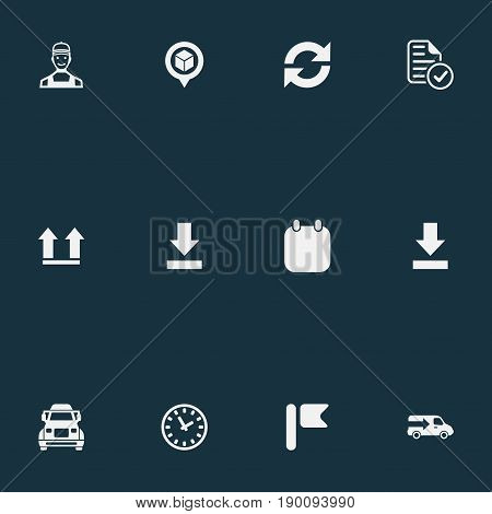 Vector Illustration Set Of Simple Systematization Icons. Elements Bottom Side, Calendar, Flag And Other Synonyms Clock, Repeat And Watch.
