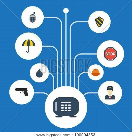 Flat Icons Worker, Walkie-Talkie, Gun And Other Vector Elements. Set Of Safety Flat Icons Symbols Also Includes Protection, Weapon, Vault Objects.