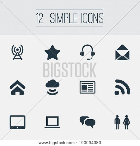 Vector Illustration Set Of Simple Transmission Icons. Elements Press, Success, Conversation And Other Synonyms Storage, Mail And Headphone.