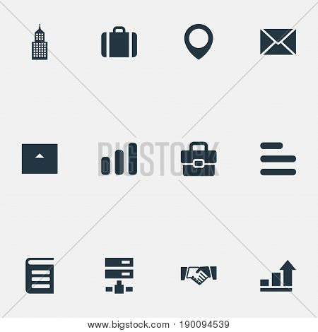 Vector Illustration Set Of Simple Career Icons. Elements Diagram, Network, Building And Other Synonyms Suitcase, Cottage And Hardware.