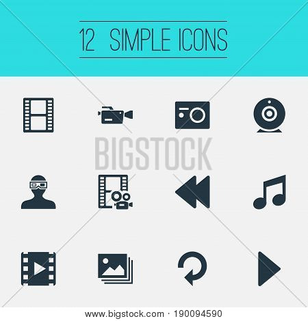 Vector Illustration Set Of Simple Multimedia Icons. Elements 3D Glasses, Play, Filmstrip And Other Synonyms Backward, Start And 3D.