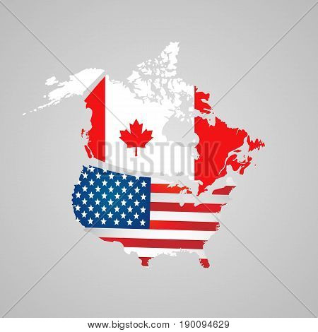 North American Country Set With Map Pointers. Canada, Usa Map, Flags