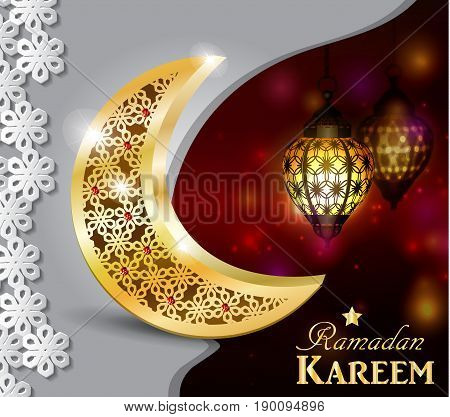 Ramadan greetings gold moon on a dark background with paper ornament and maroccan lanterns