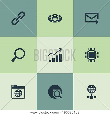 Vector Illustration Set Of Simple Search Icons. Elements Bookmark, Chain, Growth And Other Synonyms Increase, Sphere And Gear.