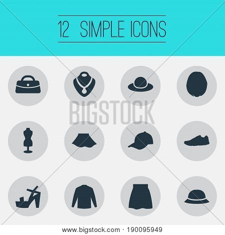 Vector Illustration Set Of Simple Clothes Icons. Elements Female Cloth, Swewatshirt, Jewelry And Other Synonyms Stand, Apparel And Cloth.