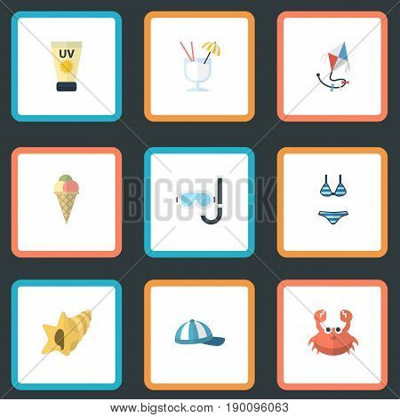 Flat Icons Drink, Aqualung, Beachwear And Other Vector Elements. Set Of Season Flat Icons Symbols Also Includes Sun, Conch, Sink Objects.