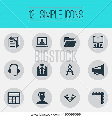 Vector Illustration Set Of Simple Speaker Icons. Elements Architect Drafting, Literature, Measurement And Other Synonyms Compass, Education And Presentation.