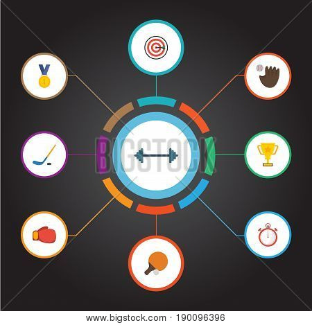 Flat Icons Second Meter, Boxing, Kettlebells And Other Vector Elements. Set Of Fitness Flat Icons Symbols Also Includes Ping, Arrow, Hockey Objects.