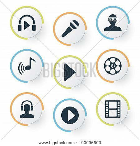 Vector Illustration Set Of Simple Multi Icons. Elements Begin, 3D Glasses, Meloman And Other Synonyms Glasses, Note And Karaoke.