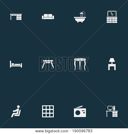 Vector Illustration Set Of Simple Furnishings Icons. Elements Bearings, Design, Bedside Socle And Other Synonyms Tub, Bathroom And Bed.