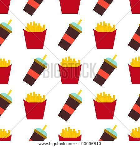 Vector seamless pattern fast food fries hamburger burger background. Lunch seamless unhealthy fastfood menu sandwich american snack.