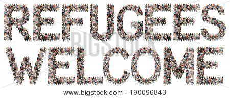 Refugees Welcome Immigrants Multi Ethnic Group Of People