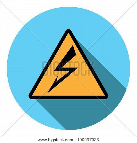 Vector image sign attention electricity on a round background