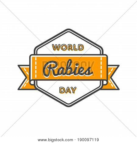World Rabies day emblem isolated vector illustration on white background. 28 september world healthcare holiday event label, greeting card decoration graphic element