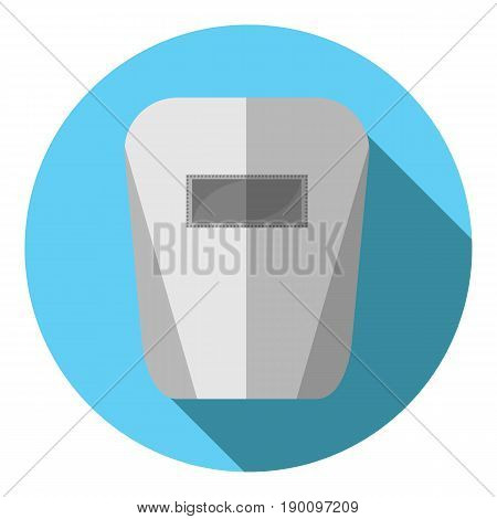 Vector image of a welding mask on a round background