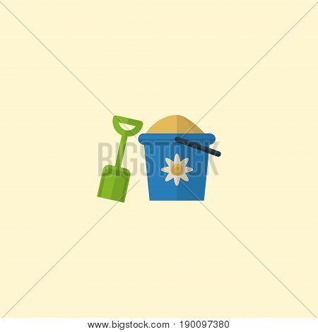 Flat Icon Pail Element. Vector Illustration Of Flat Icon Shovel Isolated On Clean Background. Can Be Used As Pain, Shovel And Sand Symbols.