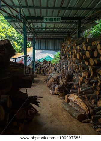firewood in fire shed raw material for fuel burn