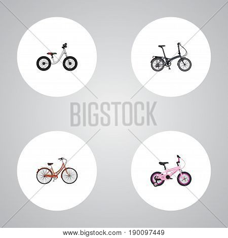 Realistic Retro, Folding Sport-Cycle, Childlike And Other Vector Elements. Set Of Bike Realistic Symbols Also Includes Childlike, Bike, Retro Objects.