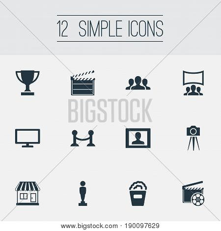 Vector Illustration Set Of Simple Film Icons. Elements Premiere, Action, Trophy And Other Synonyms Design, Stand And Cinematography.