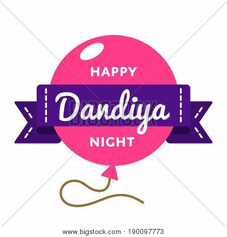 Happy Dandiya Night emblem isolated vector illustration on white background. 23 september asian dance holiday event label, greeting card decoration graphic element