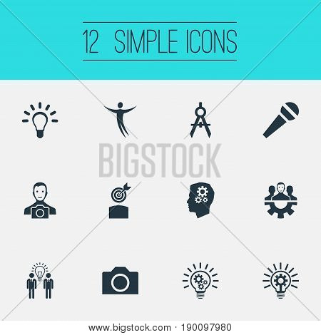 Vector Illustration Set Of Simple Creative Thinking Icons. Elements Business Discussion, Lightbulb, Team And Other Synonyms Discussion, Unity And Group.