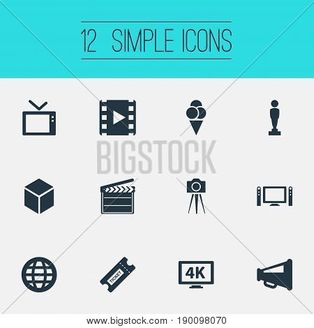 Vector Illustration Set Of Simple Cinema Icons. Elements Television, Reel, Home Cinema And Other Synonyms Director, Clapperboard And Reel.