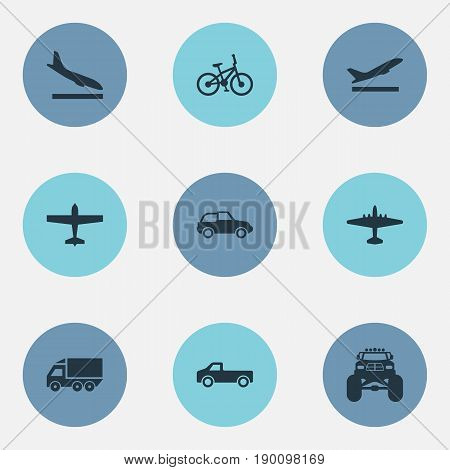 Vector Illustration Set Of Simple Shipment Icons. Elements Bike, Truck, Airliner And Other Synonyms Ramjet, Automobile And Downgrade.