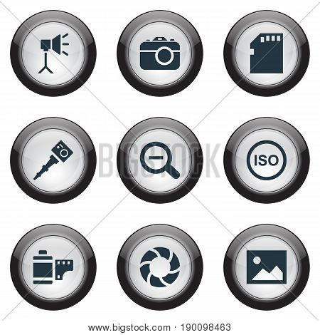 Vector Illustration Set Of Simple Photographic Icons. Elements Apparatus Photographer, Lens, Light Level And Other Synonyms Image, Lens And Removal.