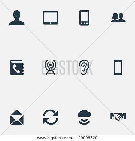 Vector Illustration Set Of Simple Social Icons. Elements Remote Storage, Radio Tower, Directory And Other Synonyms Staff, Tower And Tablet.