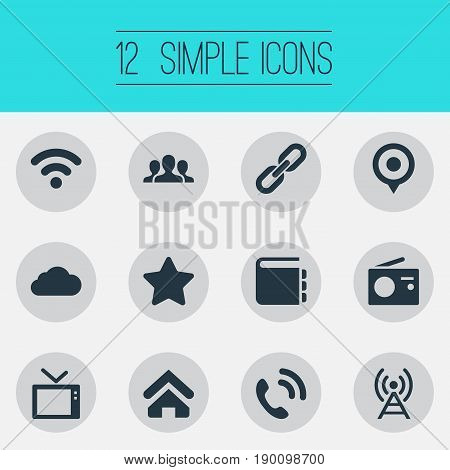 Vector Illustration Set Of Simple Network Icons. Elements Success, Link, Handset Synonyms Telly, Radio And Chain.