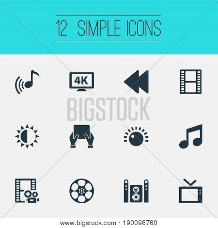 Vector Illustration Set Of Simple Multi Icons. Elements Brightness, Sound, Ultra Display And Other Synonyms Sound, 4K And Sun.