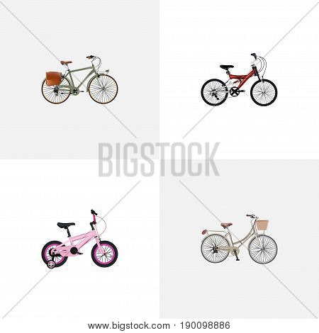 Realistic Adolescent, Brand , Working Vector Elements. Set Of  Realistic Symbols Also Includes Working, Postman, Bike Objects.