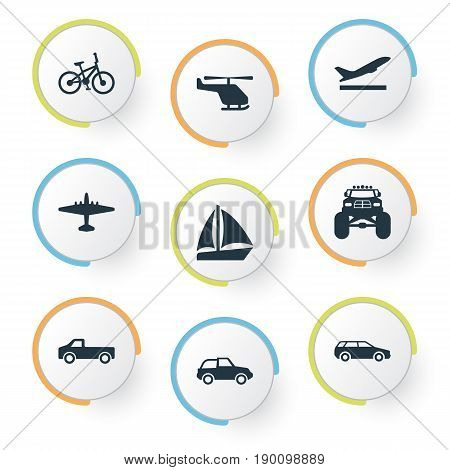 Vector Illustration Set Of Simple Shipment Icons. Elements Bike, Jeep, Carriage And Other Synonyms Bicycle, Monster And Automobile.