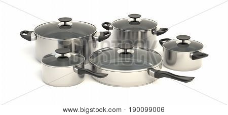 Stainless steel pots and pans on white background. Set of five piece cooking kitchenware with glass see through lids. 3D illustration.
