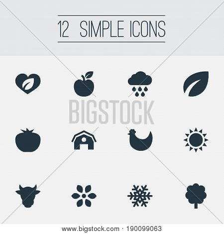 Vector Illustration Set Of Simple Recycle Icons. Elements Blossom, Farmhouse, Sunshine And Other Synonyms Weather, Farmhouse And Organic.