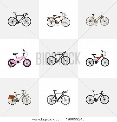 Realistic Adolescent, Competition Bicycle, Childlike And Other Vector Elements. Set Of Bicycle Realistic Symbols Also Includes Adolescent, Triathlon, Childlike Objects.