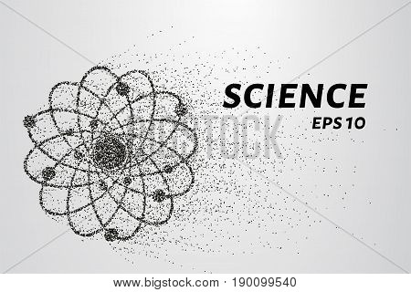 Atom Of The Particles. The Atom And The Electrons Consists Of Circles And Points. Vector Illustratio