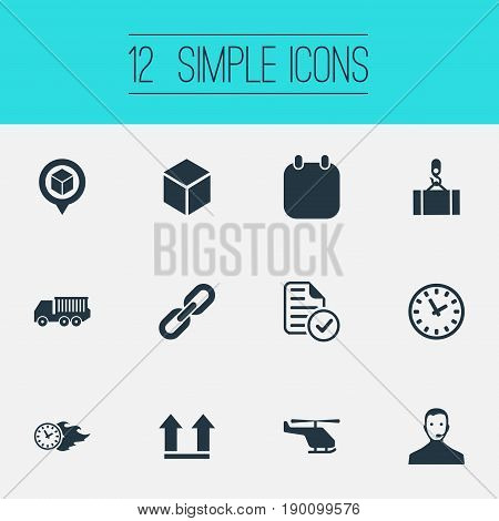 Vector Illustration Set Of Simple Logistics Icons. Elements Calendar, Report, Air Delivery And Other Synonyms List, Box And Date.