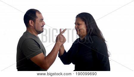 a Couple arguing on white background, latin