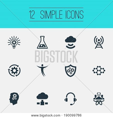 Vector Illustration Set Of Simple Innovation Icons. Elements Broadcast, Power, Mind And Other Synonyms Person, Molecular And Storage.