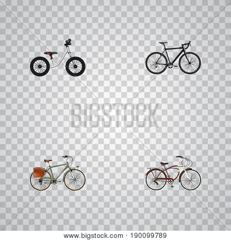 Realistic Working, Journey Bike, Equilibrium And Other Vector Elements. Set Of Bike Realistic Symbols Also Includes Bicycle, Equilibrium, Postman Objects.