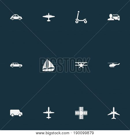 Vector Illustration Set Of Simple Transport Icons. Elements Automotive, Plane, Kids Activity And Other Synonyms Yacht, Lorry And Man.
